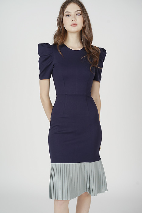 Marien Pleated-Hem Dress in Midnight - Arriving Soon