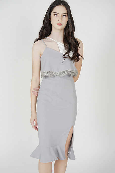 Jaysey Overlay Dress in Ash Blue - Arriving Soon