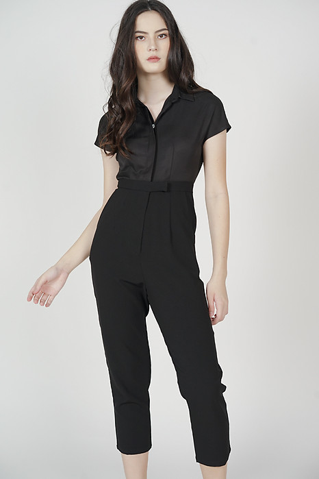 Jahnny Buttoned Jumpsuit in Black - Arriving Soon
