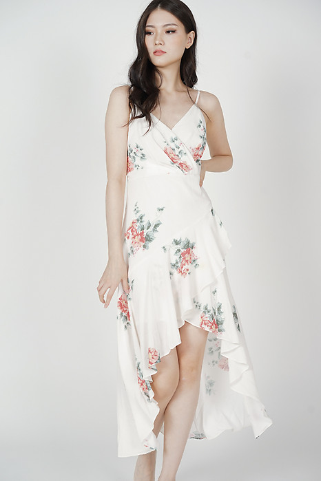Narsha Ruffled Dress in White Floral - Arriving Soon