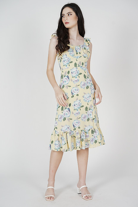 Ariel Ruffled Midi Dress in Yellow - Arriving Soon