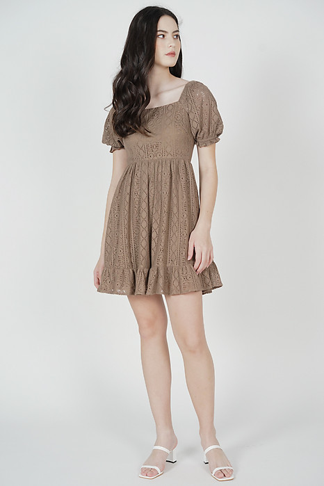 Kileri Gathered Dress in Taupe - Arriving Soon