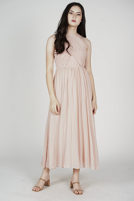 Chrissi Pleated Dress in Pink - Arriving Soon