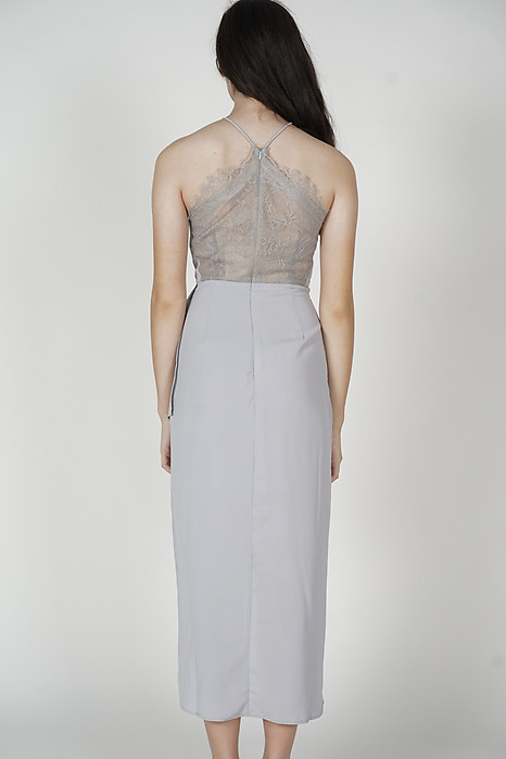 Chelsi Pleated Drape Dress in Ash Blue - Arriving Soon