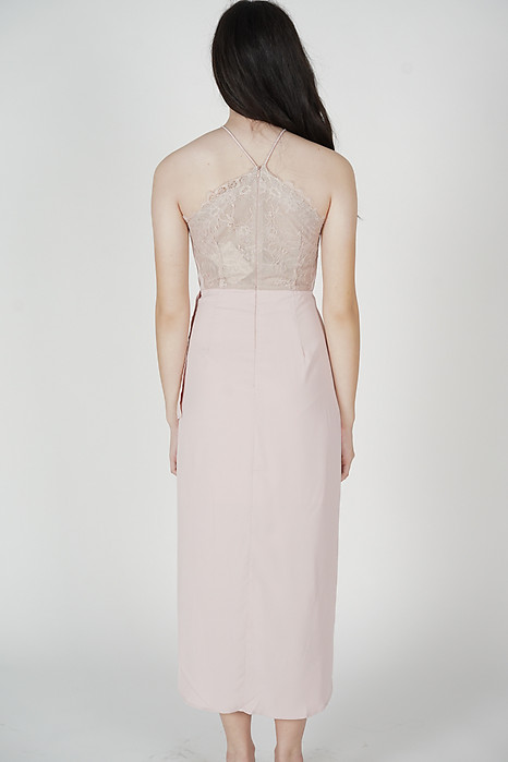 Chelsi Pleated Drape Dress in Pink - Arriving Soon