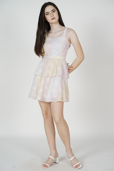 Izabella Eyelet Dress in Multi Pastel