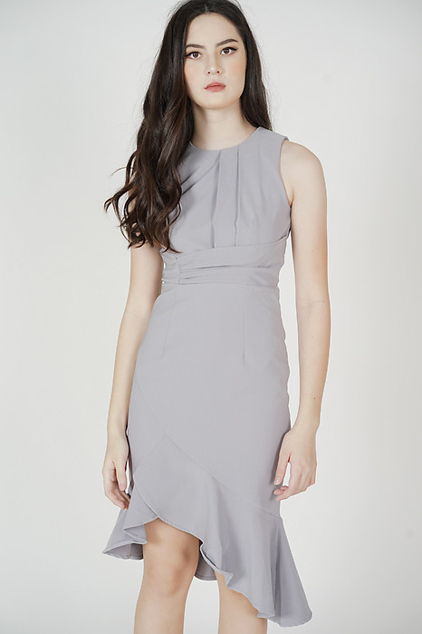 Luzin Ruffled Dress in Ash Blue - Arriving Soon