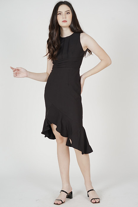 Luzin Ruffled Dress in Black - Arriving Soon