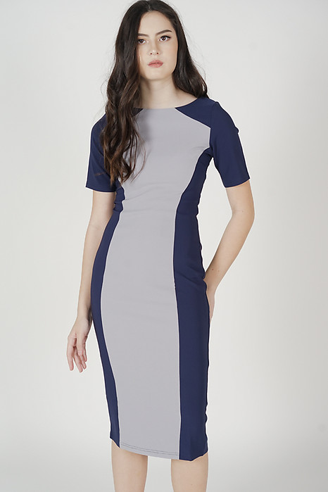 Janey Contrast Dress in Navy Blue - Arriving Soon