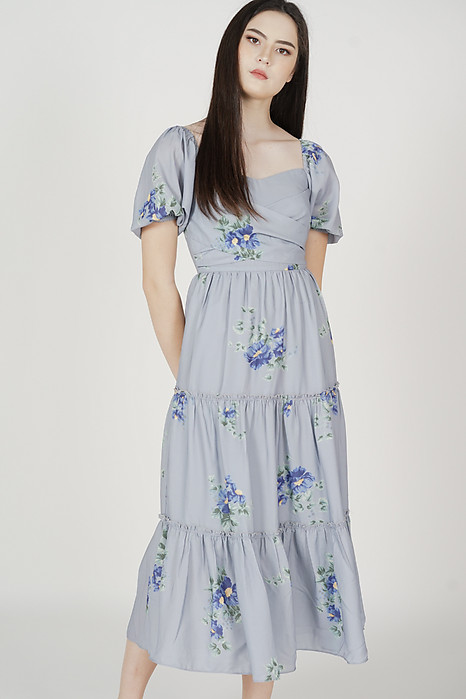 Haudie Gathered Dress in Dusty Blue Floral - Arriving Soon