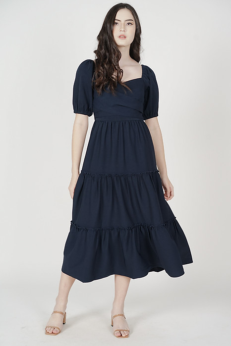 Mikel Gathered Dress in Midnight - Arriving Soon