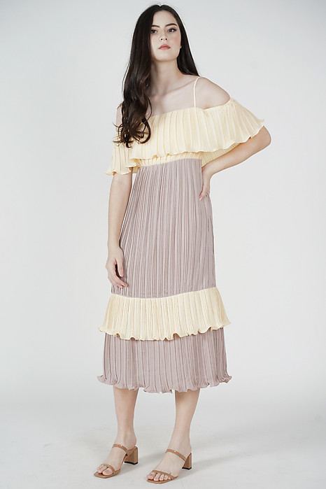 Eshley Pleated Dress in Cream - Arriving Soon