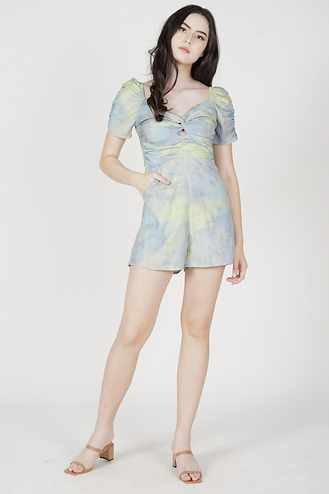Naho Ruched Romper in Green Blue - Arriving Soon