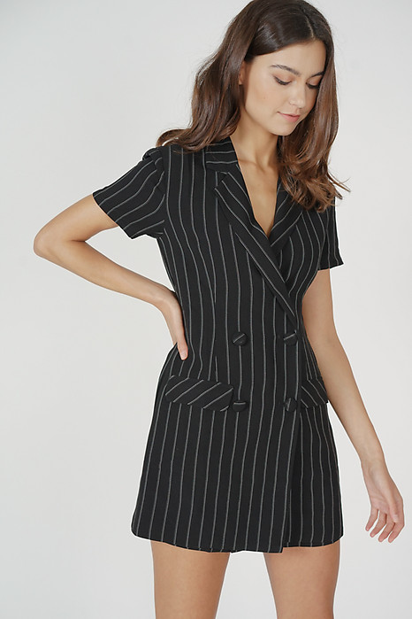 Jaeho Buttoned Romper in Black Stripes