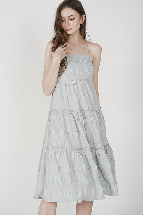 Nasya Tiered Maxi Dress in Ash Blue - Arriving Soon