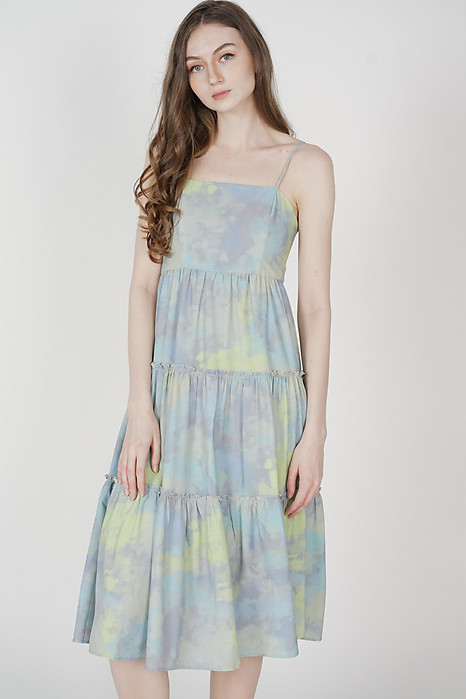 Nasya Tiered Maxi Dress in Green Blue - Arriving Soon