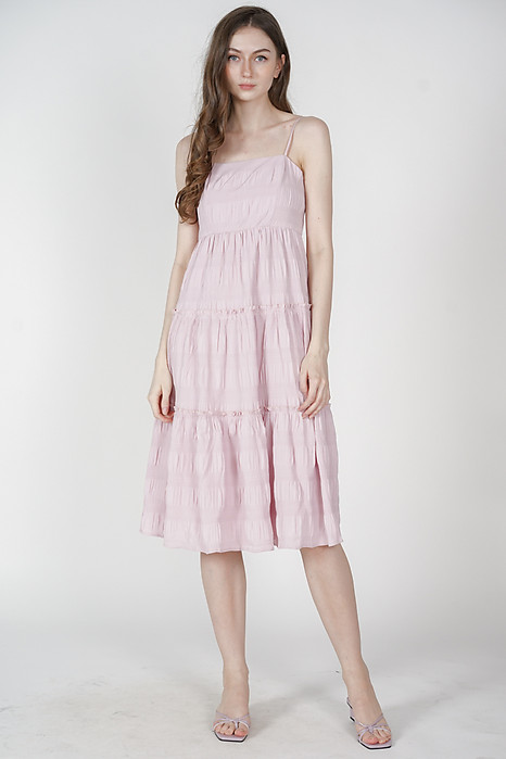 Nasya Tiered Maxi Dress in Pink - Arriving Soon