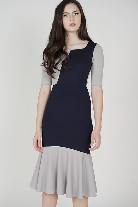 Emmie Contrast Dress in Midnight - Arriving Soon