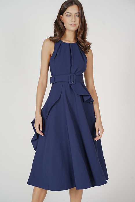 Sindie Ruffled Dress in Navy - Arriving Soon