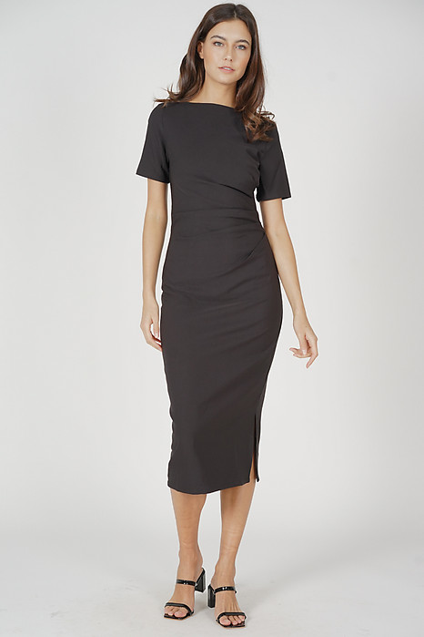 Nicolette Midi Dress in Black - Arriving Soon