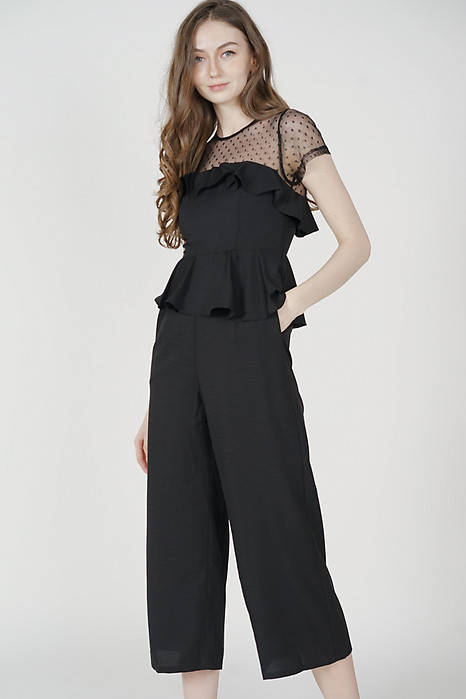 Gabian Ruffled Jumpsuit in Black - Arriving Soon