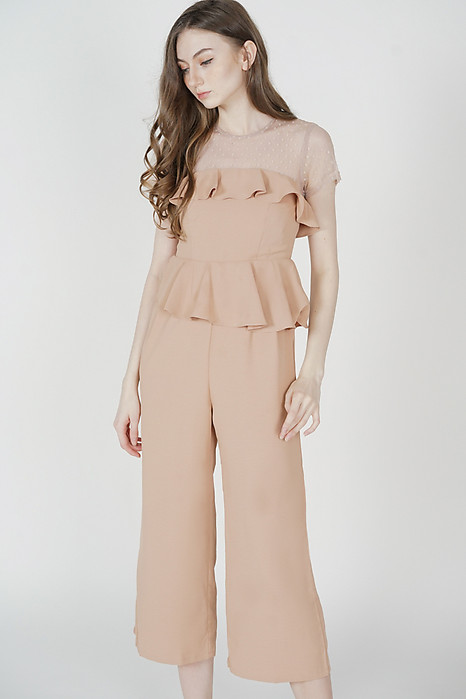 Gabian Ruffled Jumpsuit in Nude - Arriving Soon