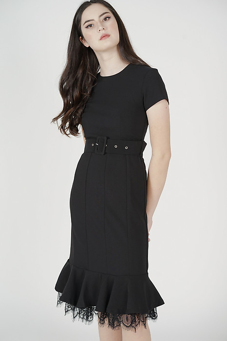 Mayti Ruffled-Hem Dress in Black - Arriving Soon