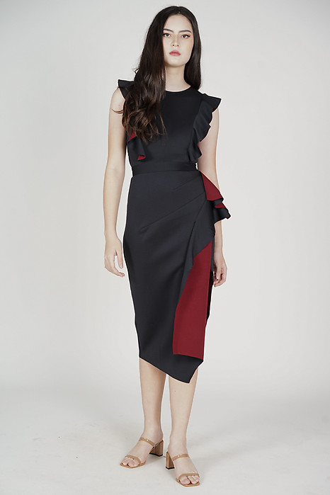 Faraz Ruffled Dress in Black Oxblood