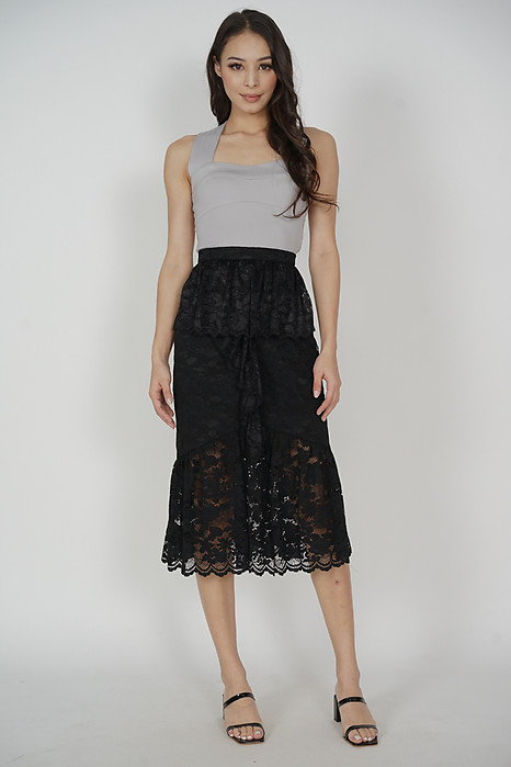 Freyja Lace Skirt in Midnight Black