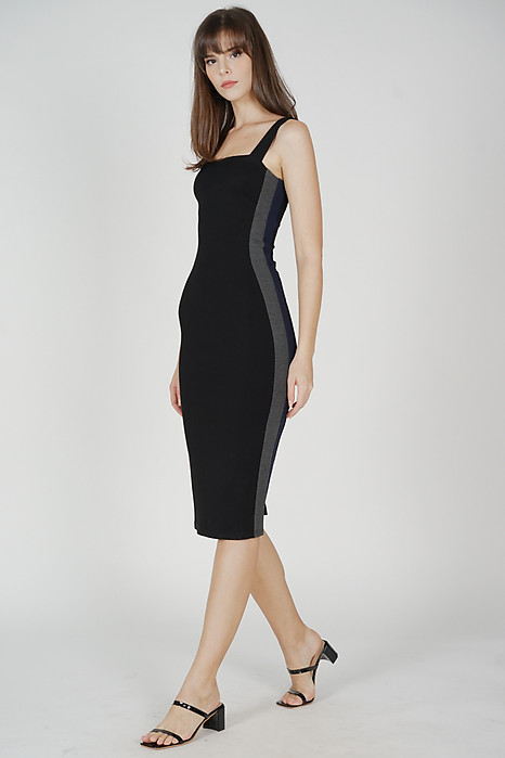 Ariana Contrast Dress in Black - Arriving Soon