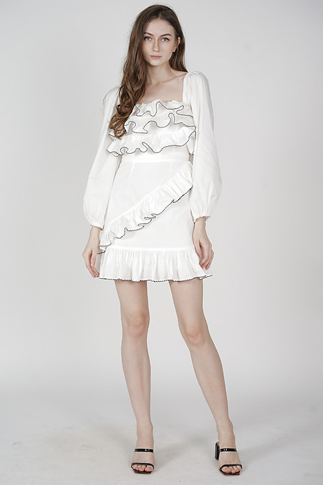Vilena Ruffled Dress in White - Arriving Soon