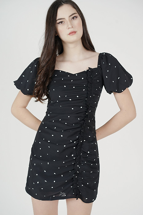 Aron Ruched Dress in Black Polka Dots - Arriving Soon