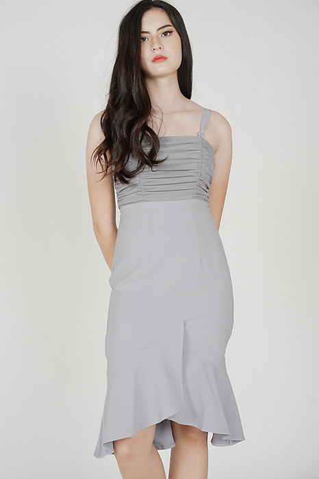 Erick Ruched Dress in Grey - Arriving Soon