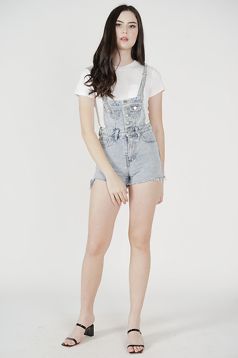 Dalen Denim Overall Romper in Blue - Online Exclusive