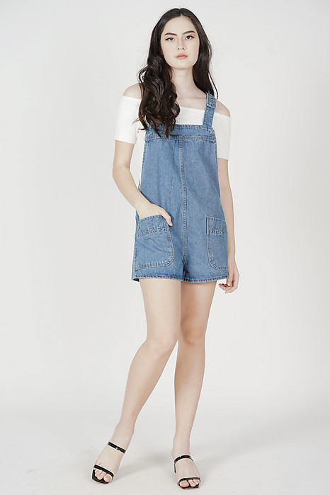 Hallie Denim Overall Romper in Dark Blue - Online Exclusive