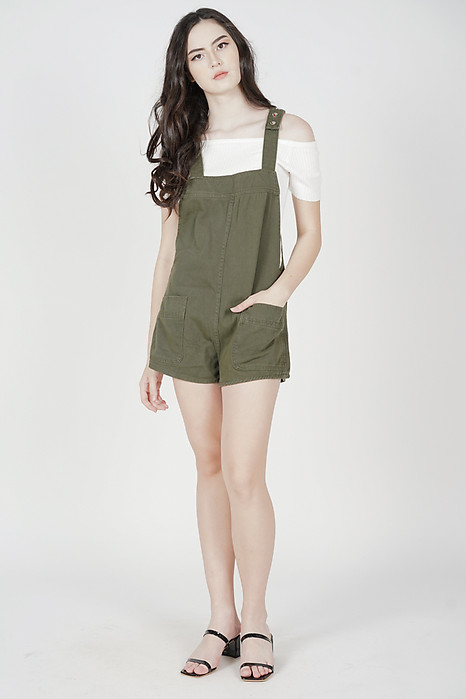 Hallie Denim Overall Romper in Khaki - Online Exclusive