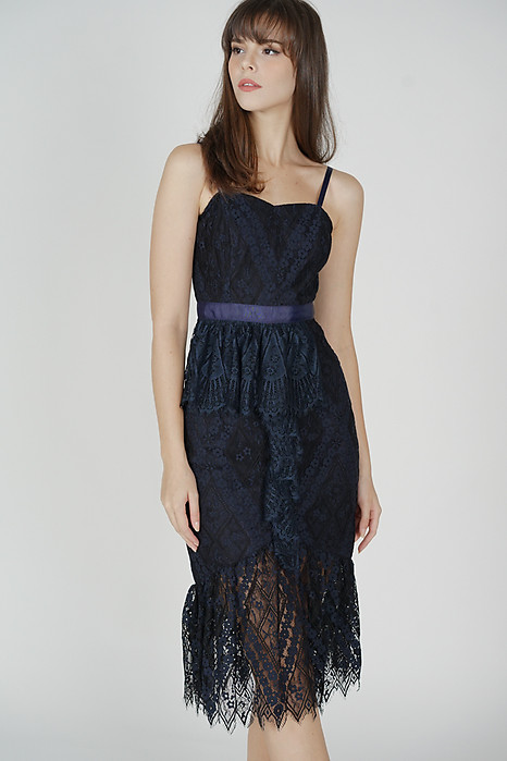 Dayna Ruffled Lace Dress in Midnight - Arriving Soon