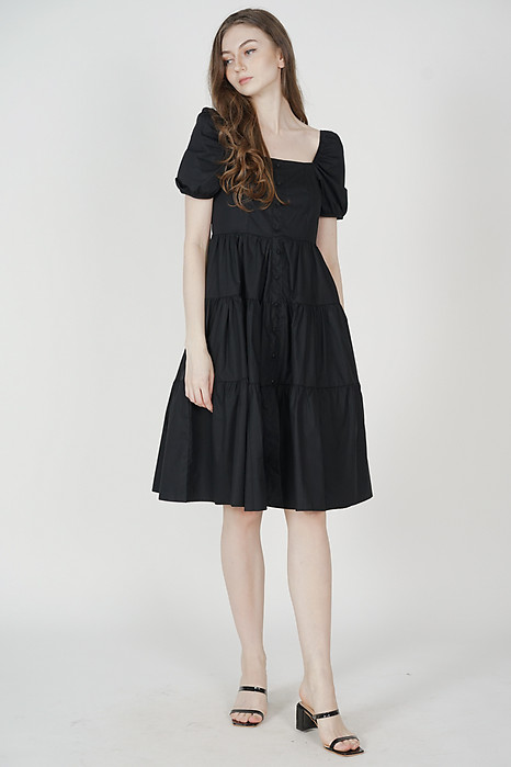 Arissa Gathered Dress in Black - Online Exclusive
