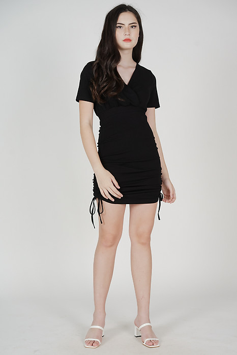 Aloysius Sleeved Dress in Black - Online Exclusive