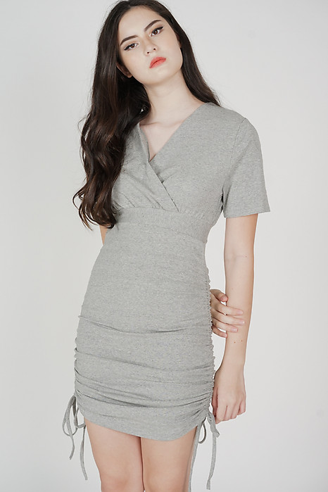 Aloysius Sleeved Dress in Grey - Online Exclusive