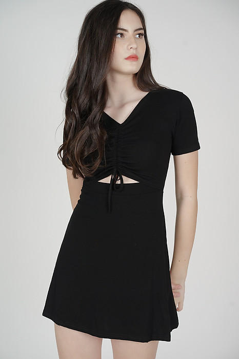 Drake Gathered Front Dress in Black - Online Exclusive