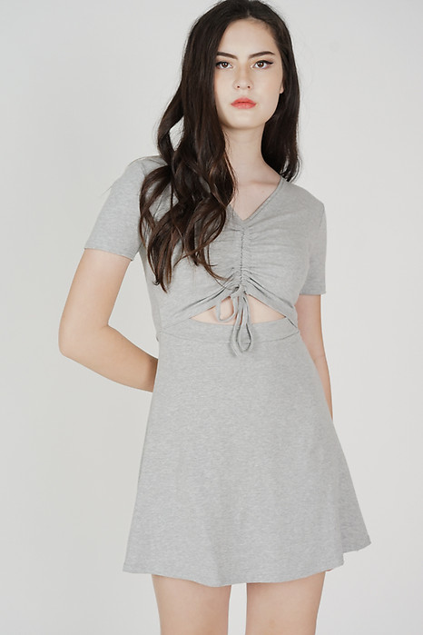 Drake Gathered Front Dress in Grey - Online Exclusive