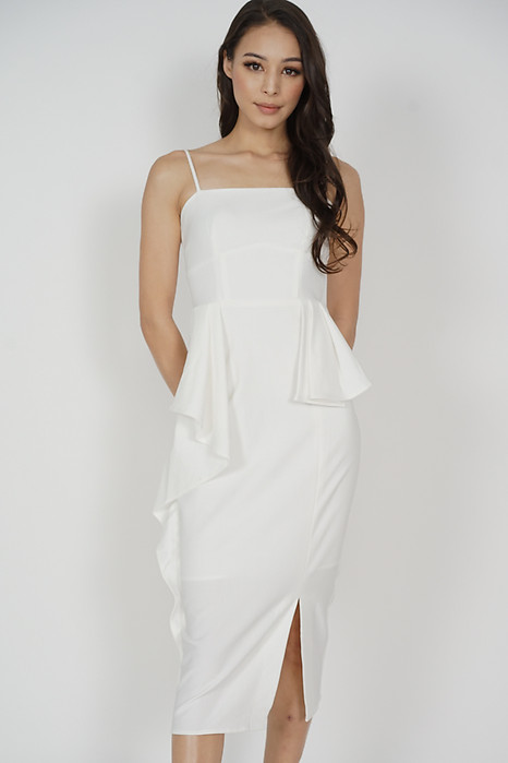 Diana Asymmetrical Ruffled Dress in White