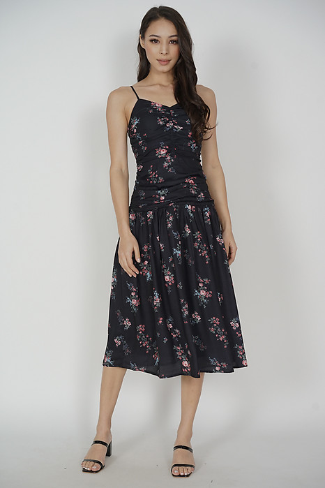 Jayleen Gathered Dress in Black Floral - Arriving Soon