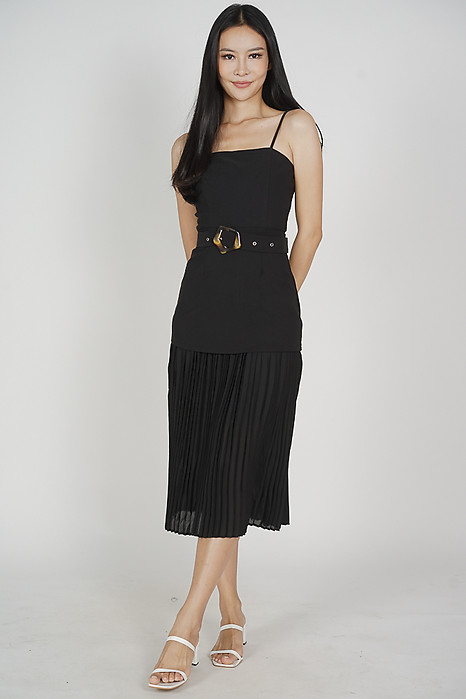 Vailey Pleated Dress in Black - Arriving Soon