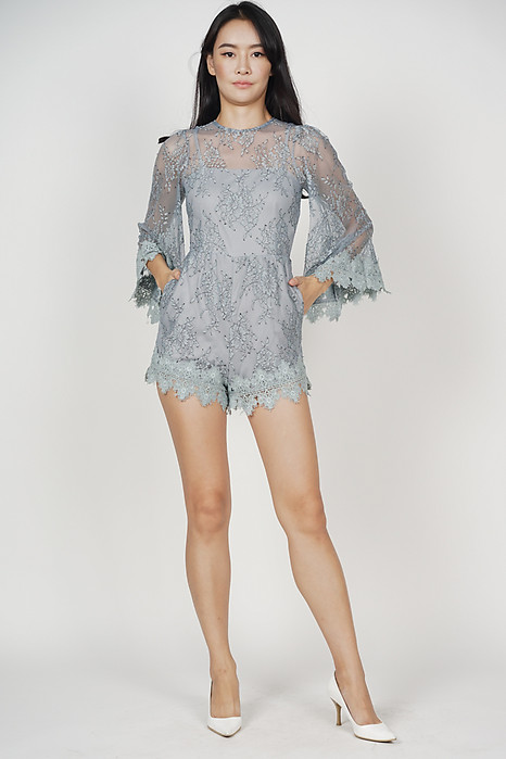 Arexna Lace Romper in Ash Blue