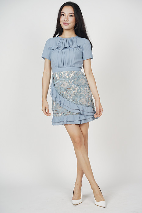 Jayla Lace Dress in Ash Blue