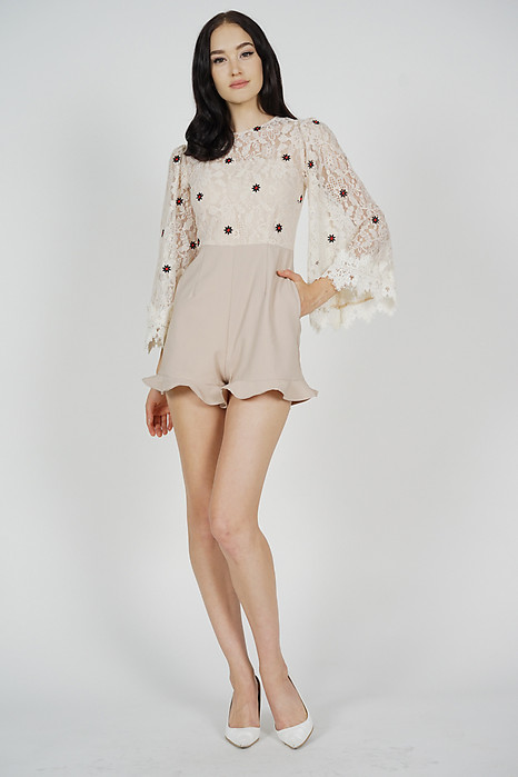 Rinda Lace Romper in Nude Floral - Arriving Soon