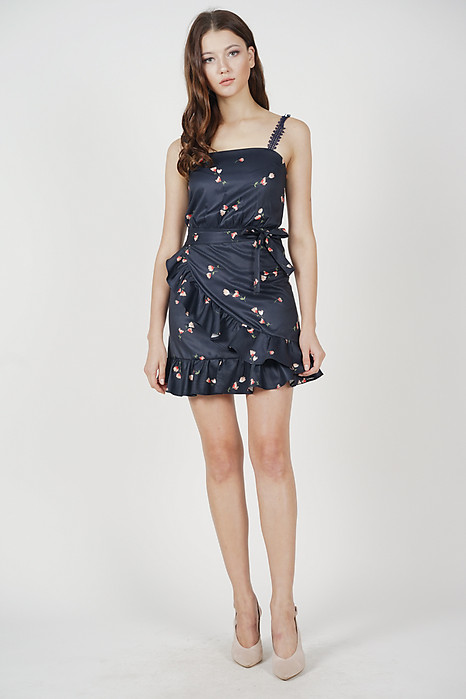 Afrina Ruffled Dress in Midnight Floral - Arriving Soon