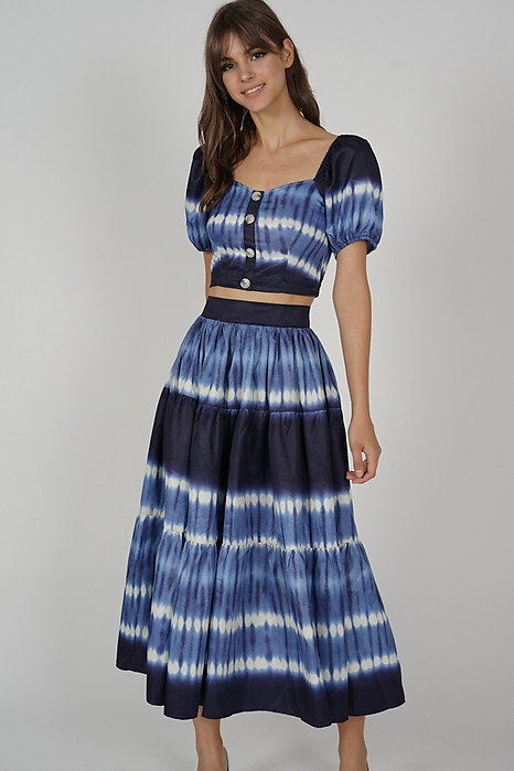Malora Gathered Skirt in Blue
